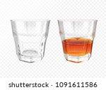 whiskey glass 3d vector... | Shutterstock .eps vector #1091611586