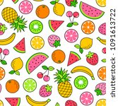 colorful hand drawn tropical... | Shutterstock .eps vector #1091613722
