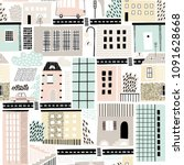 childish seamless pattern with... | Shutterstock .eps vector #1091628668