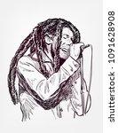 bob marley sing vector sketch... | Shutterstock .eps vector #1091628908