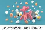 dog balloons are among the... | Shutterstock . vector #1091638385