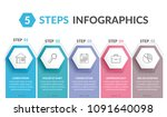 infographic template with 5... | Shutterstock .eps vector #1091640098