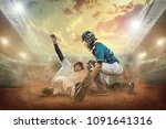 baseball players in dynamic...   Shutterstock . vector #1091641316
