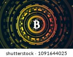 bitcoin digital currency.... | Shutterstock .eps vector #1091644025