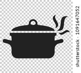 cooking pan icon in flat style. ... | Shutterstock .eps vector #1091647052