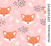 cute fox seamless pattern  wolf ... | Shutterstock .eps vector #1091658545
