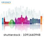 sweden landmark global travel...   Shutterstock .eps vector #1091660948