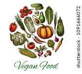 vegetable and mushroom poster... | Shutterstock .eps vector #1091666072