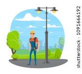 lineman with work tool cartoon... | Shutterstock .eps vector #1091666192