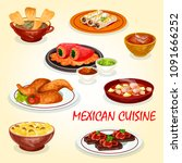 mexican cuisine icon of meat... | Shutterstock .eps vector #1091666252