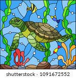 illustration in stained glass... | Shutterstock .eps vector #1091672552