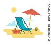 chaise longue on the beach... | Shutterstock .eps vector #1091678402