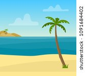 tropical background with sea ... | Shutterstock .eps vector #1091684402