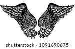 tattoo wings.eagle bird or... | Shutterstock .eps vector #1091690675