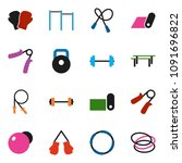 solid vector icon set   barbell ... | Shutterstock .eps vector #1091696822