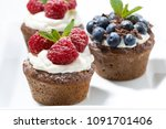sweet chocolate cupcakes with... | Shutterstock . vector #1091701406