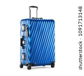 blue suitcase isolated on white ... | Shutterstock . vector #1091713148