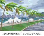 seaside landscape with storm in ... | Shutterstock .eps vector #1091717708
