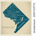 modern city map   washington dc ... | Shutterstock .eps vector #1091719772