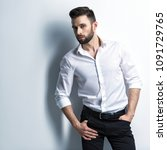handsome man in white shirt and ...   Shutterstock . vector #1091729765