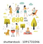 character people on bbq party.... | Shutterstock .eps vector #1091731046