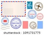 envelope and postmarks.... | Shutterstock . vector #1091731775