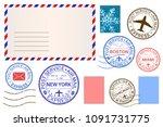 envelope and postmarks.... | Shutterstock . vector #1091731775