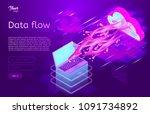 data flow design concept.... | Shutterstock .eps vector #1091734892