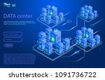 data center design concept.... | Shutterstock .eps vector #1091736722