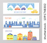 banner with cute city and town... | Shutterstock .eps vector #1091748302