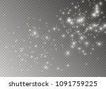 white sparks and golden stars...   Shutterstock .eps vector #1091759225