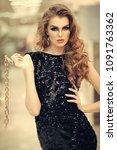 girl with makeup  long hair in...   Shutterstock . vector #1091763362