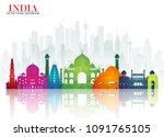 india landmark global travel... | Shutterstock .eps vector #1091765105