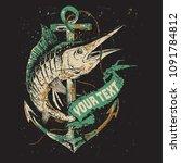 fishing illustration template... | Shutterstock .eps vector #1091784812
