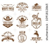 collection of nine wild west... | Shutterstock .eps vector #1091812865