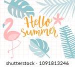 hello summer banner  tropical... | Shutterstock .eps vector #1091813246