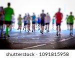 marathon runners in the city... | Shutterstock . vector #1091815958