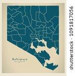 modern city map   baltimore... | Shutterstock .eps vector #1091817056