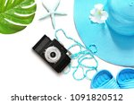 vintage camera on white surface ... | Shutterstock . vector #1091820512