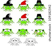 cute frogs holidays edition | Shutterstock .eps vector #109182542