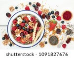 home made healthy breakfast... | Shutterstock . vector #1091827676