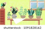 interior with flowers. cactus...   Shutterstock .eps vector #1091828162