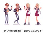 young man and woman with... | Shutterstock .eps vector #1091831915