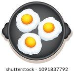 sunny side up eggs breakfast... | Shutterstock .eps vector #1091837792