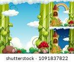 a fairy tale castle template...   Shutterstock .eps vector #1091837822