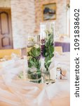 wedding table setting with... | Shutterstock . vector #1091838602