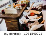 different kind of cheese on... | Shutterstock . vector #1091840726