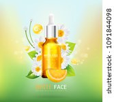 white face with lemon serum and ... | Shutterstock .eps vector #1091844098