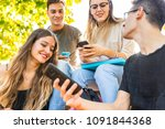 teen group of friends with... | Shutterstock . vector #1091844368
