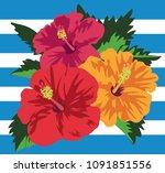 vector illustration of tropical ...   Shutterstock .eps vector #1091851556